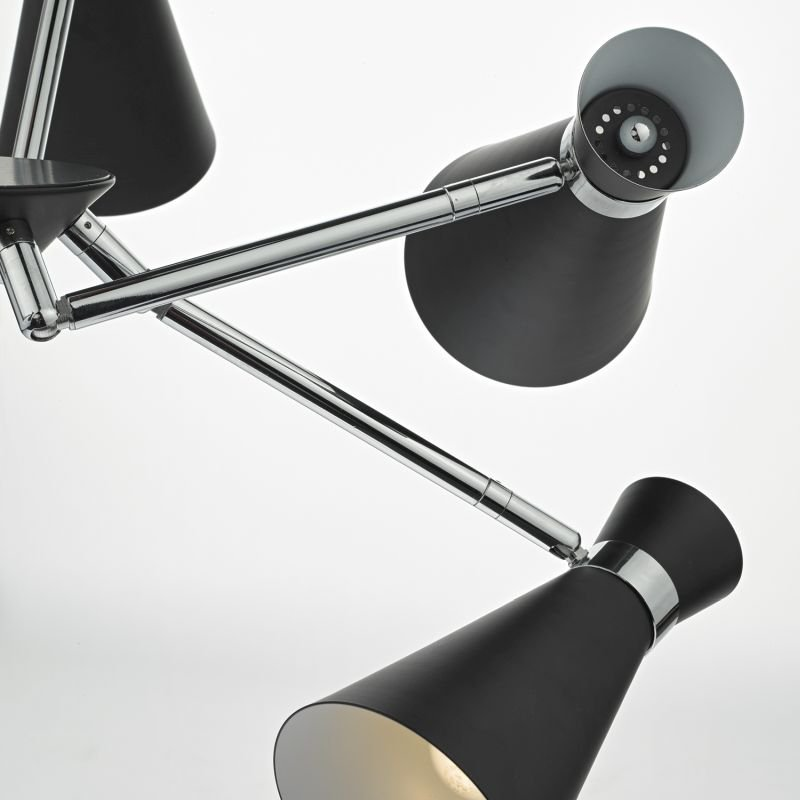 Dar-ASH0522 - Ash - Black Metal with Chrome 5 Light Centre Fitting