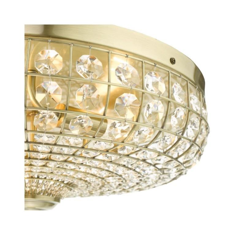 Dar-ASM5475 - Asmara - Crystal & Antique Brass 5 Light Flush