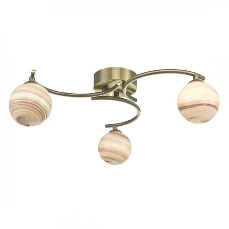 Dar-ATI5375-07 - Atiya - Marble Glass & Antique Brass 3 Light Semi-Flush