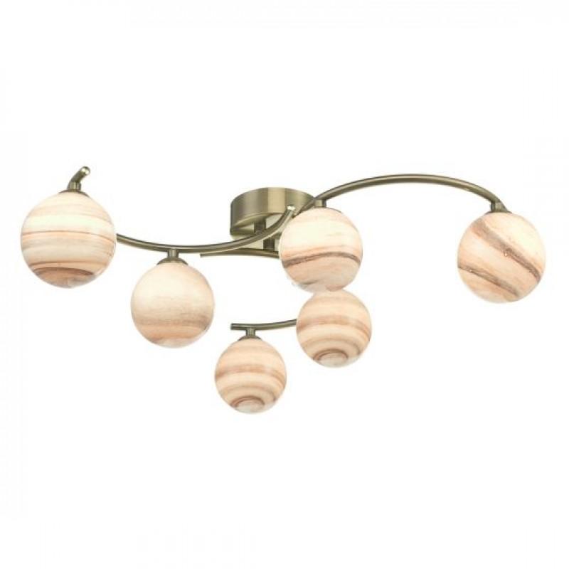 Dar-ATI6475-07 - Atiya - Marble Glass & Antique Brass 6 Light Semi-Flush