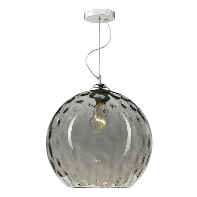 Dar-AUL0110 - Aulax - Smoked Dimple Glass with Chrome Hanging Pendant