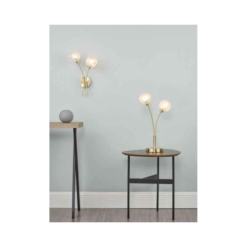 Dar-AVA0941 - Avari - Decorative Glass Globe with Satin Brass 2 Light Wall Lamp
