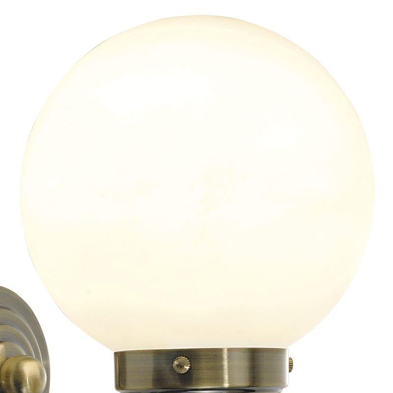 Dar-BAR0775 - Barclay - Bathroom Opal Glass Globe and Brass Wall Lamp