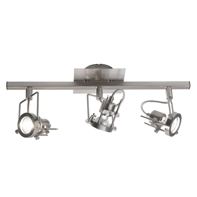 Dar-BAU7346 - Bauhaus - Satin Chrome Adjustable Swivel Head 3 Light Spotlights