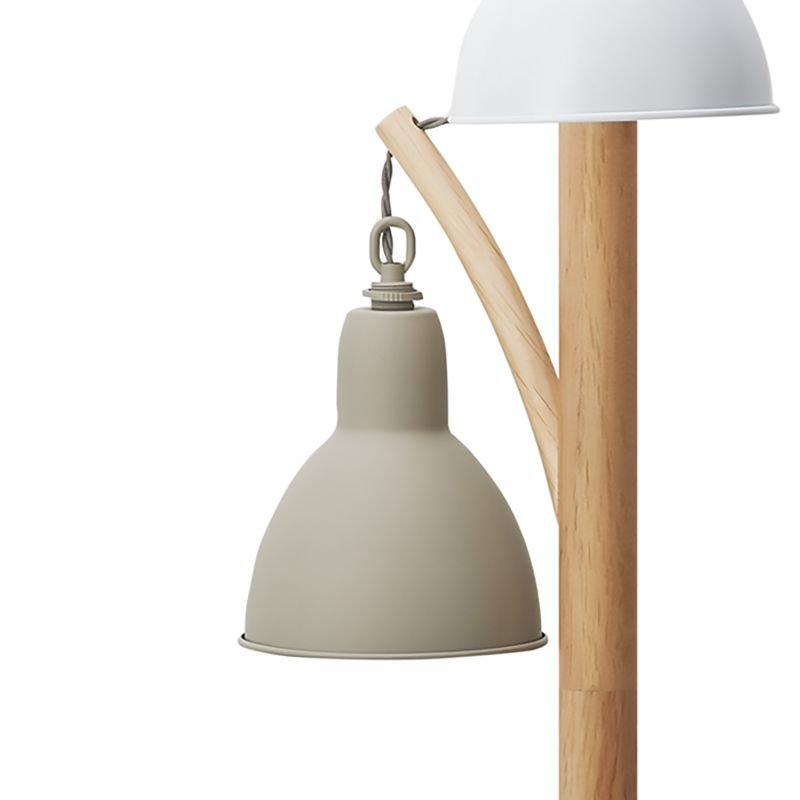 Dar-BLY4943 - Blyton - Retro Cream with Wood 3 Light Floor Lamp