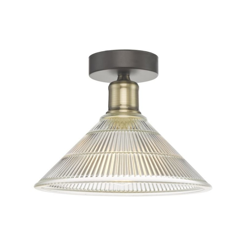 Dar-BOY0175 - Boyd - Prismatic Clear Glass & Antique Brass Flush