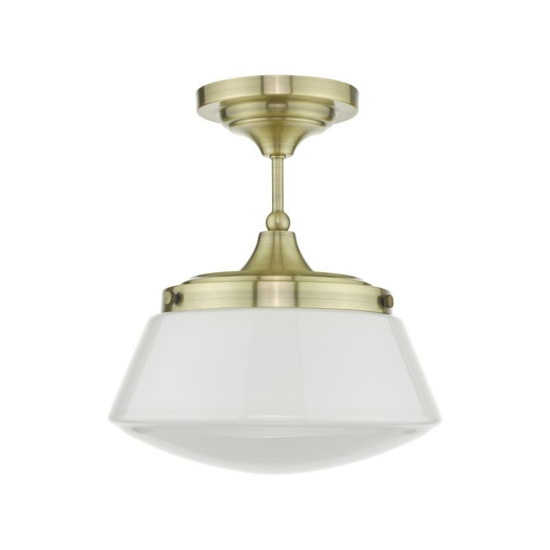 Dar-CAD0175 - Caden - Bathroom Antique Brass & Opal Glass Ceiling Lamp