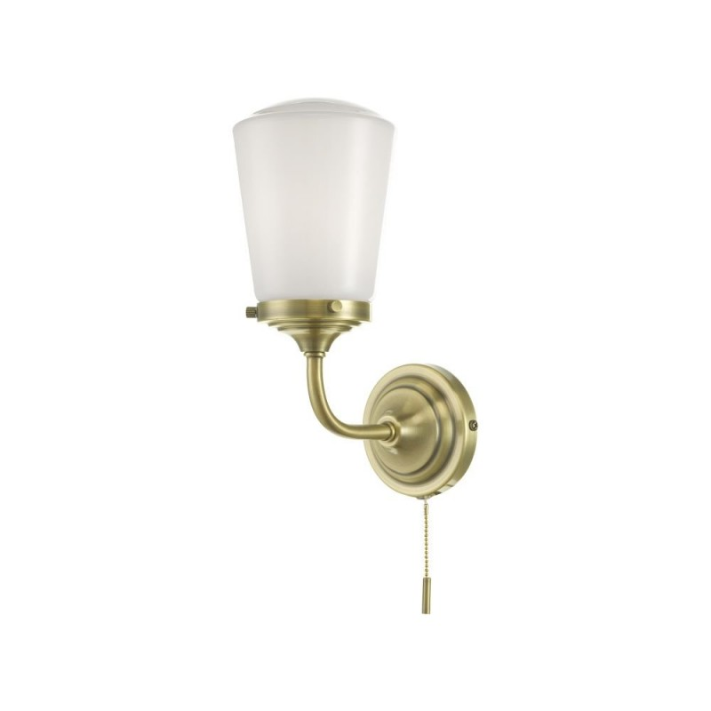 Dar-CAD0775 - Caden - Bathroom Antique Brass and Opal Glass Wall Lamp