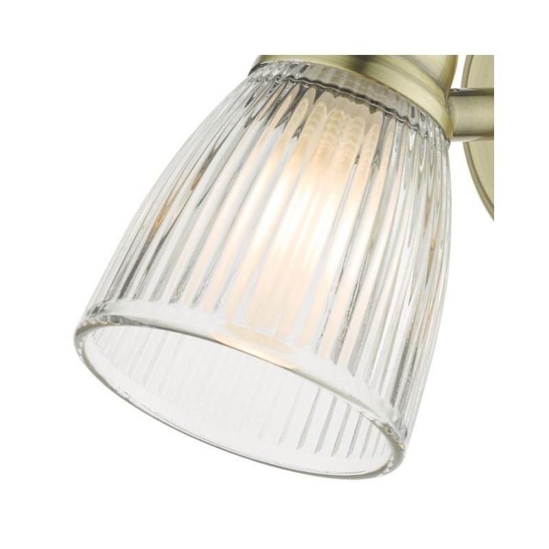 Dar-CED0775 - Cedric - Ribbed Glass & Antique Brass 1 Spotlight