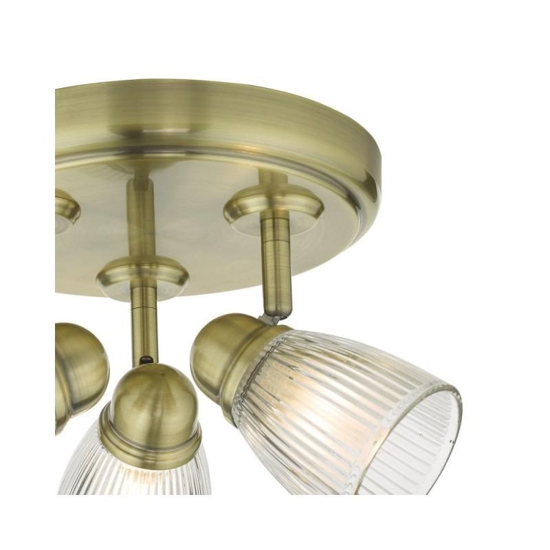 Dar-CED7675 - Cedric - Ribbed Glass & Antique Brass 3 Spotlights
