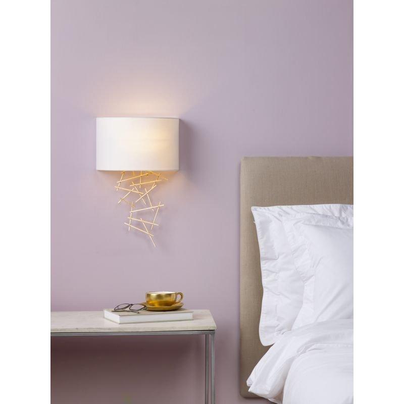 Dar-CEV0735 - Cevero - Ivory Silk Shade with Gold Wall Lamp