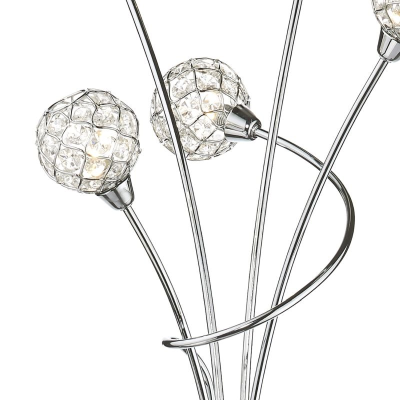 Dar-CIR4950 - Circa - Decorative Glass Disc with Chrome 5 Light Floor Lamp