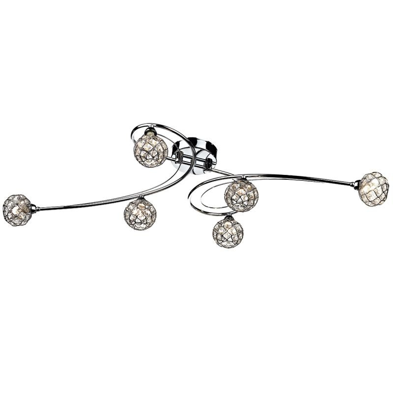 Dar-CIR6450 - Circa - Decorative Glass Disc with Chrome 6 Light Centre Fitting