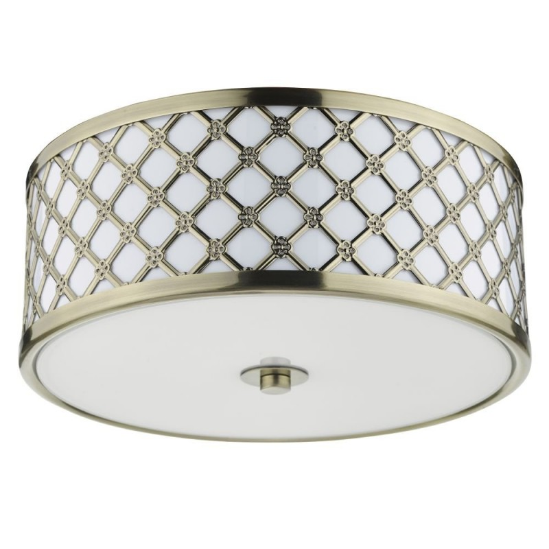 Dar-CIV5275 - Civic - Antique Brass & Frosted Glass 2 Light Flush