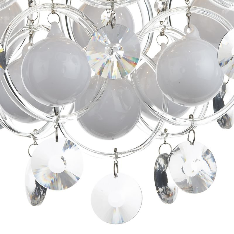 Dar-CLO1350 - Cloud - Crystal and White Ball 9 Light Ceiling Lamp