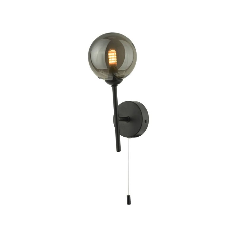 Dar-COH0722-01 - Cohen - Smoky Glass & Black Wall Lamp