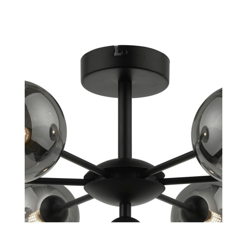 Dar-COH3422-01 - Cohen - Smoky Glass & Black 7 Light Semi Flush