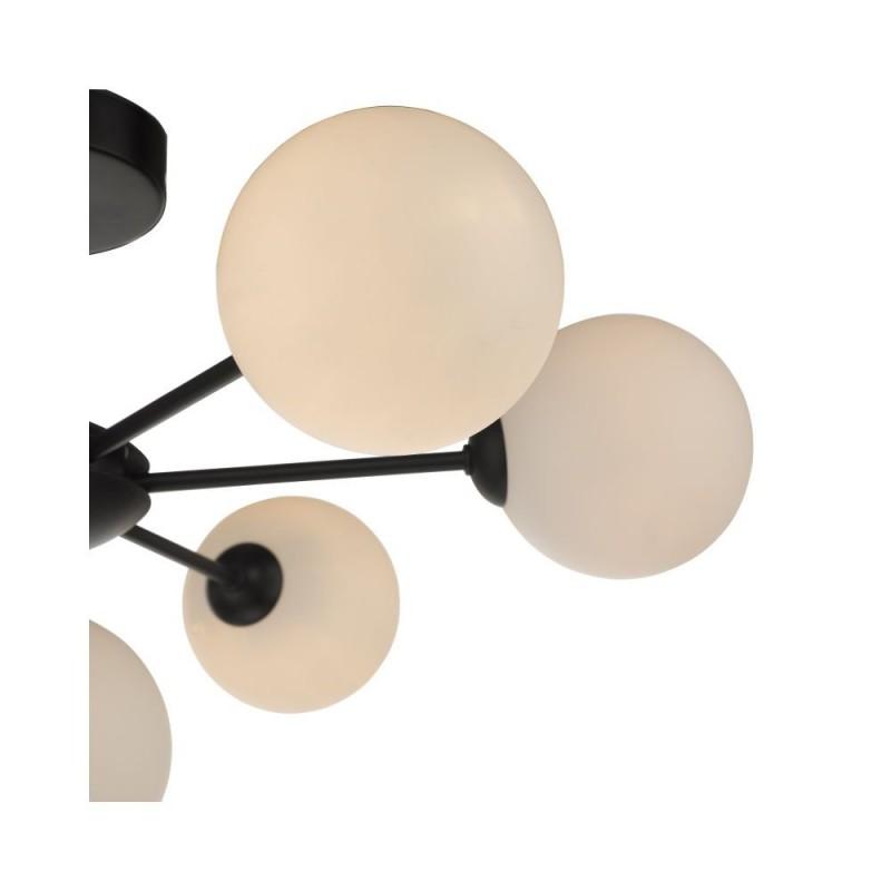 Dar-COH3422-02 - Cohen - White Glass & Black 7 Light Semi Flush