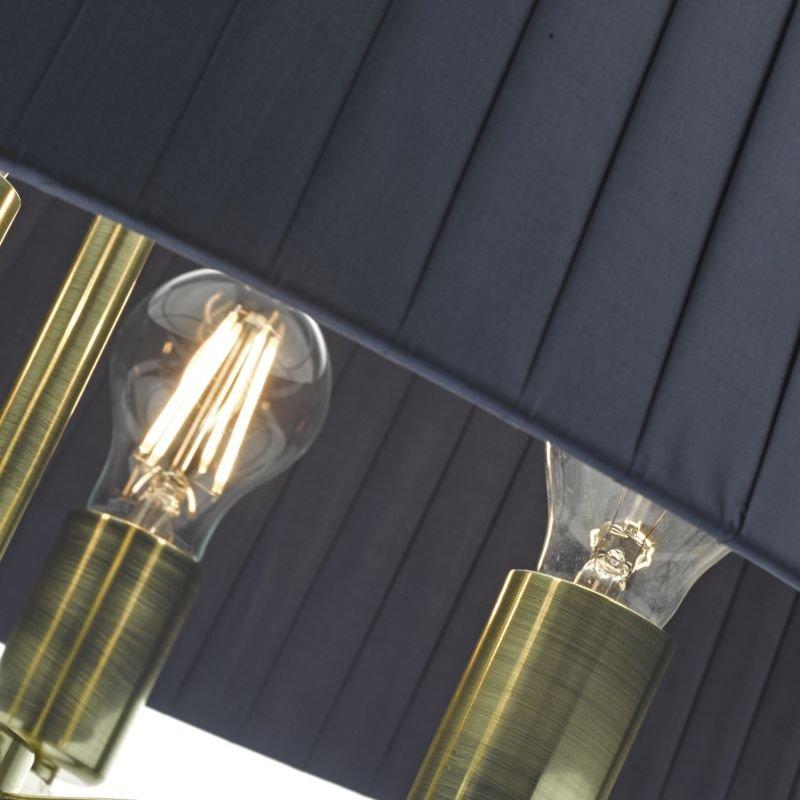 Dar-CRI0423 - Cristin - Navy Ribbon Fabric with Satin Brass 4 Light Pendant