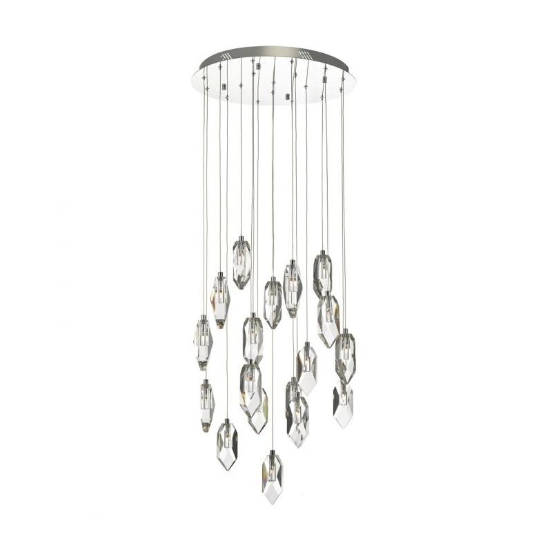 Dar-CRY1850 - Crystal - Chrome with Crystal Drops 18 Light Cluster Pendant