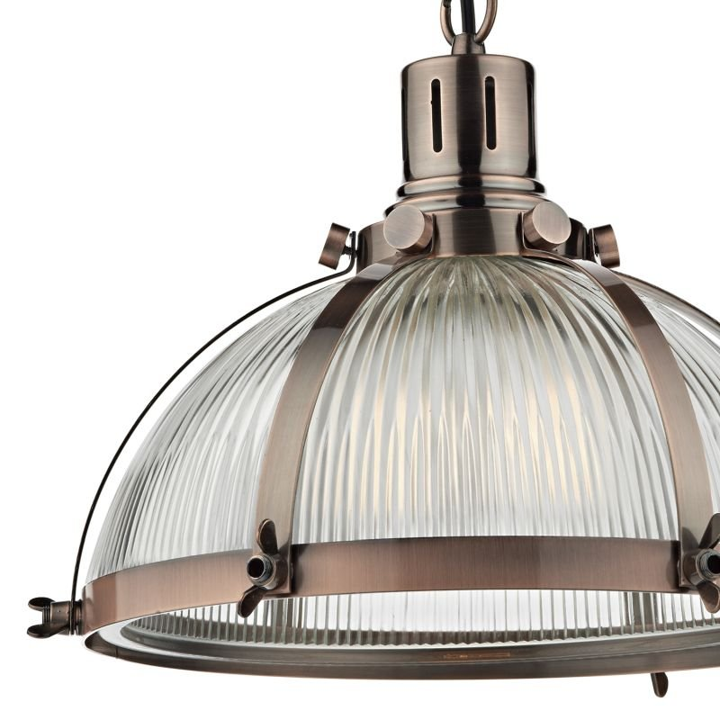 Dar-DEB0164 - Debut - Ribbed Glass with Antique Copper Hanging Pendant