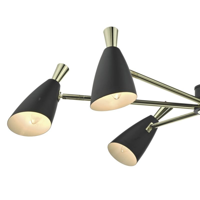 Dar-DIE0654 - Diego - Black Metal with Gold 6 Light Centre Fitting