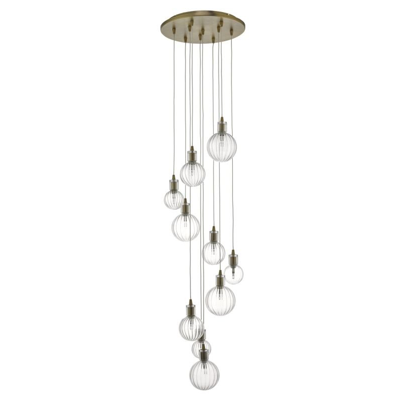 Dar-DIT2342 - Dita - Decorative Glass with Brass 10 Light Cluster Pendant