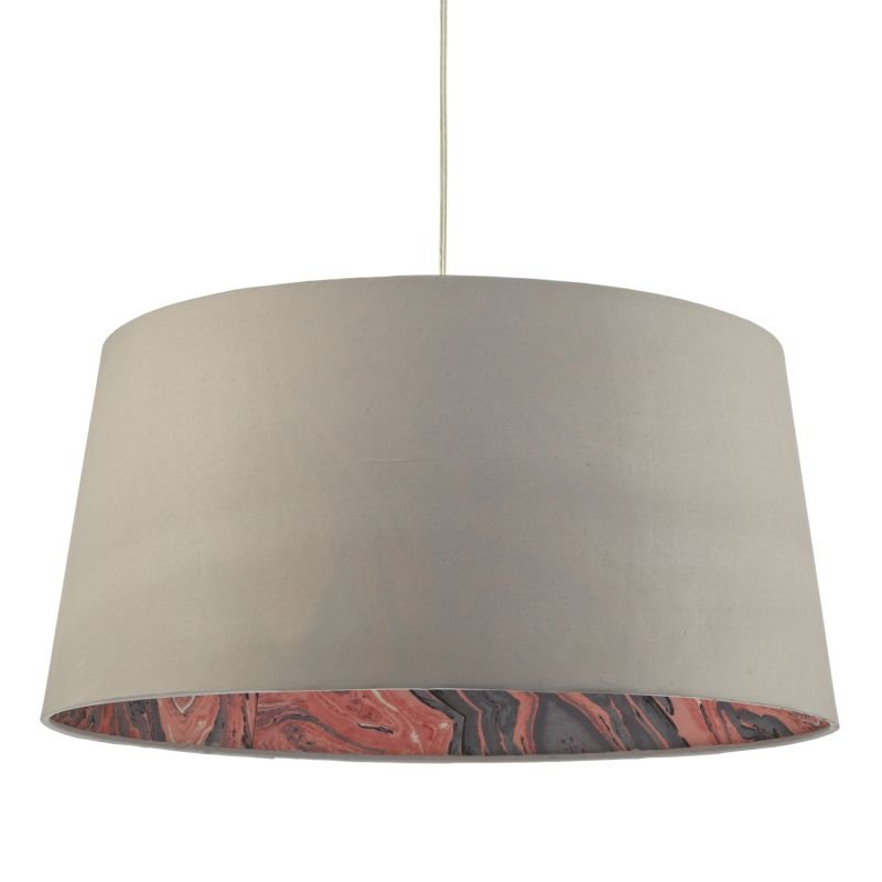 Dar-DOL6539 - Dolores - Grey Faux Silk Fabric Shade for Hanging Pendant