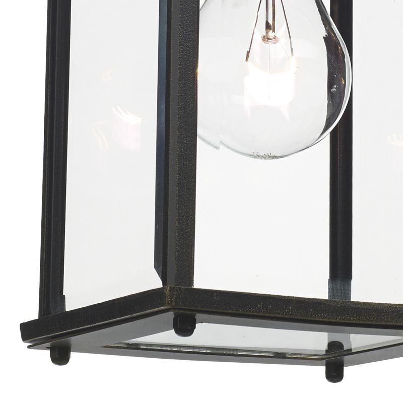 Dar-DOY1635 - Doyle - Black and Gold with Clear Glass Lantern Wall Lamp