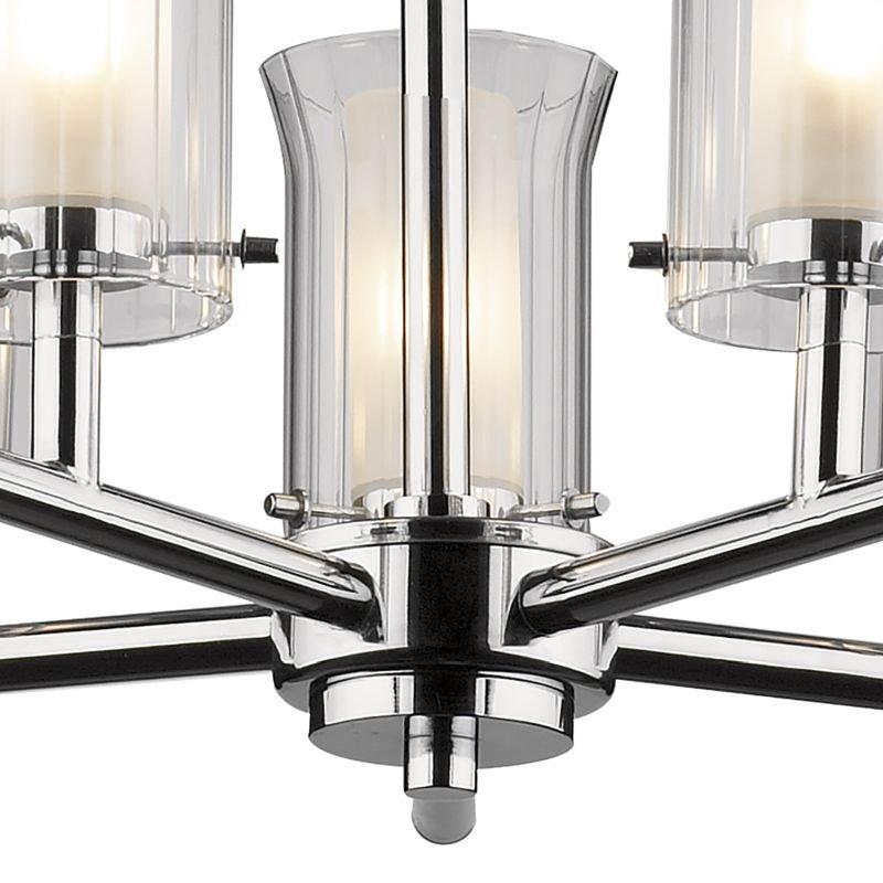 Dar-ELB0550 - Elba - Bathroom Chrome and Ribbed Glass 5 Light Semi Flush