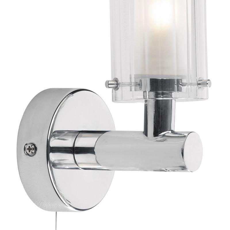 Dar-ELB0750 - Elba - Bathroom Chrome and Ribbed Glass Single Wall Lamp