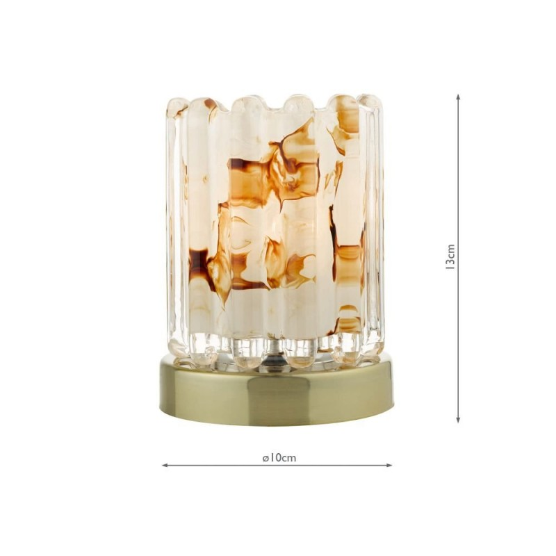 Wisebuys-ELF4175 - ELF - Marble Glass & Antique Brass Touch Table Lamp
