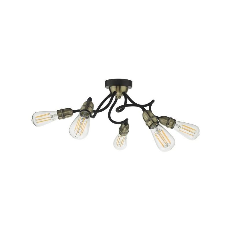 Wisebuys-EYD5475 - Eydie - Antique Brass & Black 5 Light Semi Flush