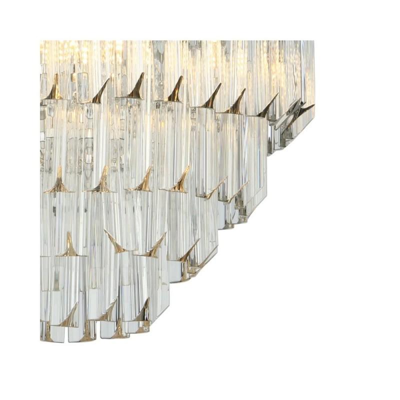 Dar-FAM0538 - Fame - Sculpted Glass & Nickel 5 Light Chandelier