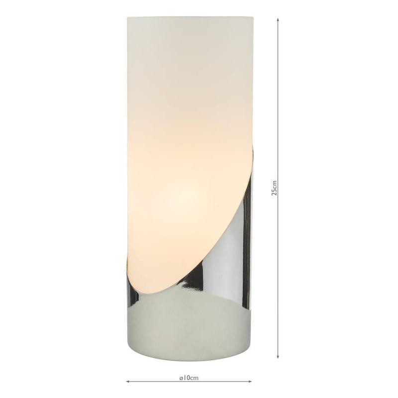 Dar-FAR4250 - Faris - Opal Glass & Polished Chrome Touch Lamp