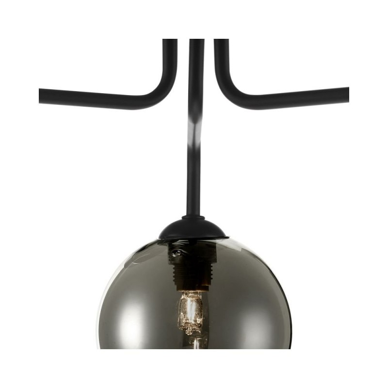 Dar-FEY0322-01 - Feya - Smoky Glass & Black 3 Light Semi Flush