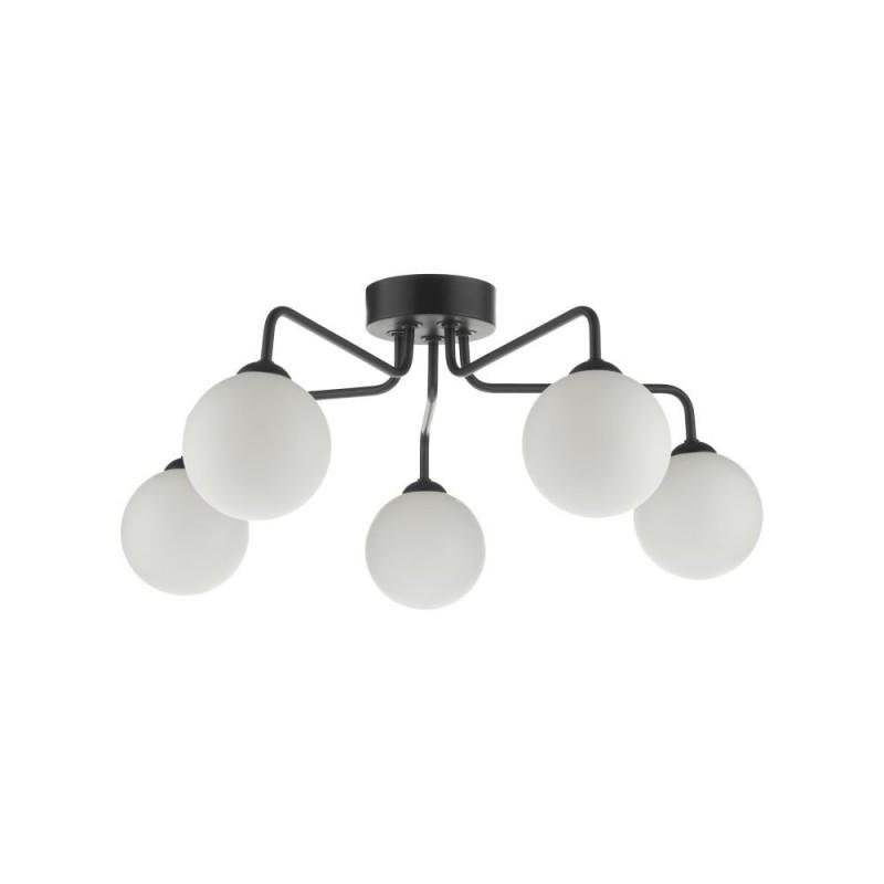 Dar-FEY0522-02 - Feya - White Glass & Black 5 Light Semi Flush