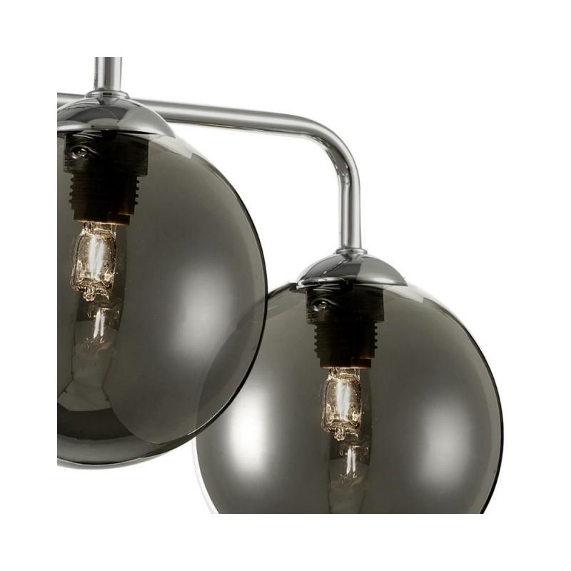 Dar-FEY0550-01 - Feya - Smoky Glass & Chrome 5 Light Semi Flush