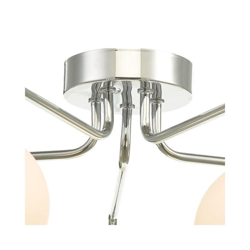 Dar-FEY0550-02 - Feya - White Glass & Chrome 5 Light Semi Flush