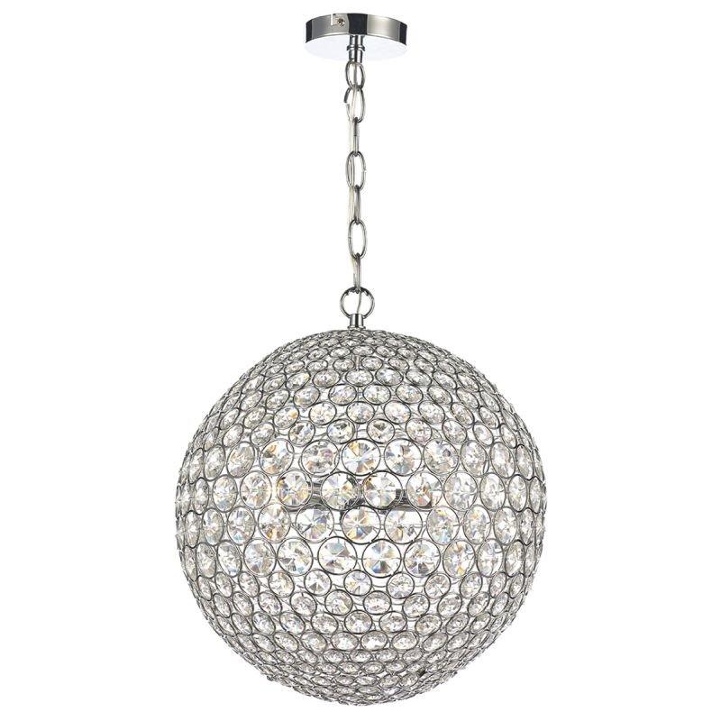 Dar-FIE0550 - Fiesta - Chrome & Crystal Ball 5 Light Hanging Pendant