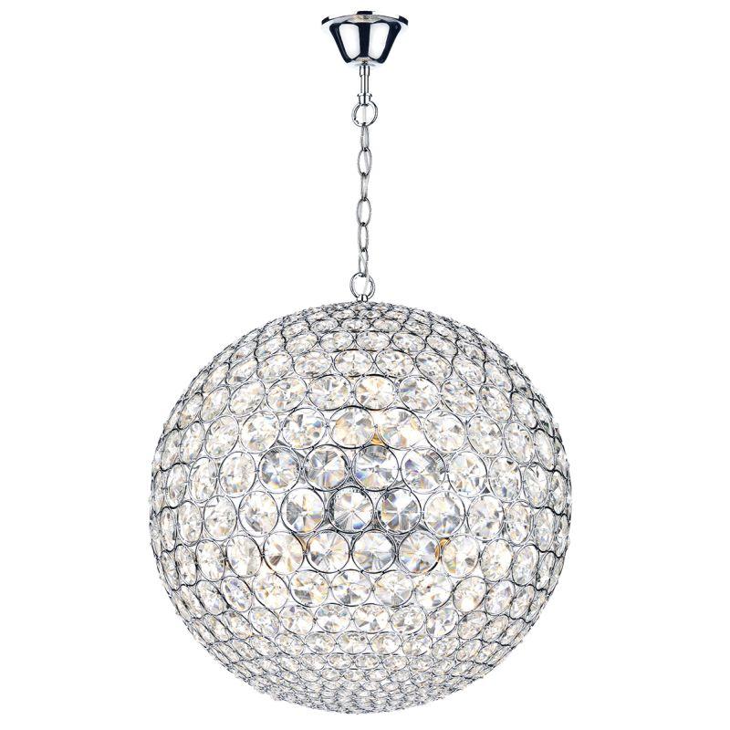Dar-FIE0850 - Fiesta - Chrome & Crystal Ball 8 Light Hanging Pendant