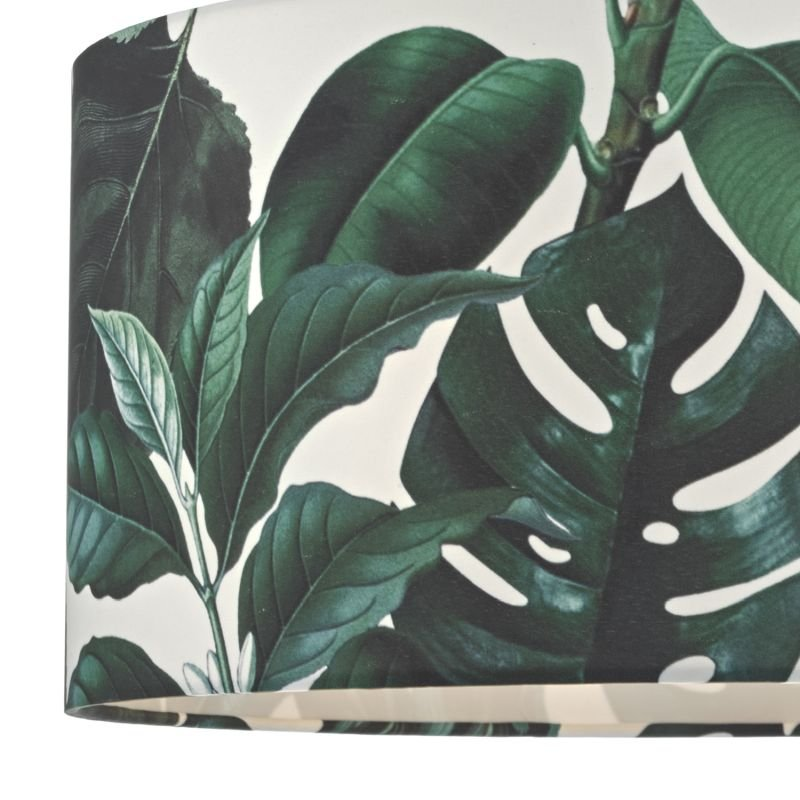 Dar-FIL6524 - Filip - White with Green Palm Fabric Shade for Hanging Pendant