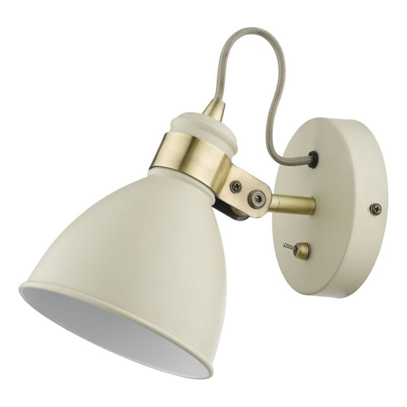 Dar-FRE0733 - Frederick - Gloss Cream with Antique Brass Wall Lamp