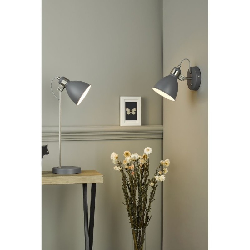 Dar-FRE0737 - Frederick - Grey with Satin Chrome Wall Lamp