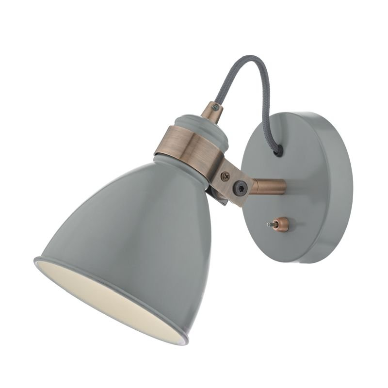 Dar-FRE0739 - Frederick - Grey with Copper Wall Lamp