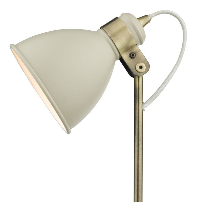 Dar-FRE4233 - Frederick - Cream & Antique Brass Desk Lamp