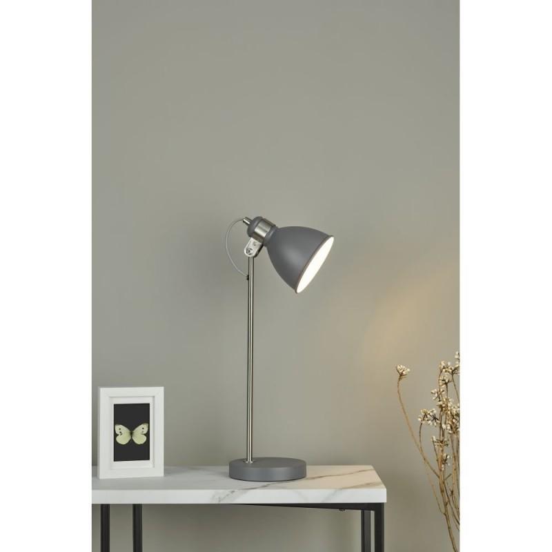 Dar-FRE4237 - Frederick - Grey with Satin Chrome Desk Lamp