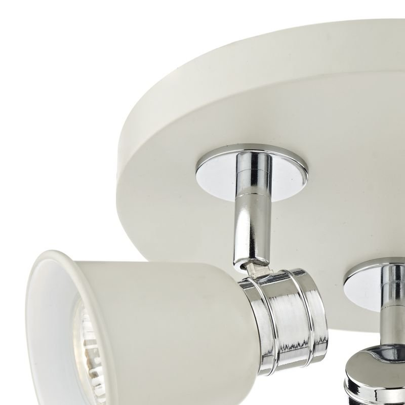 Dar-FRY7633 - Fry - Modern Cream and Polished Chrome 3 Spotlights