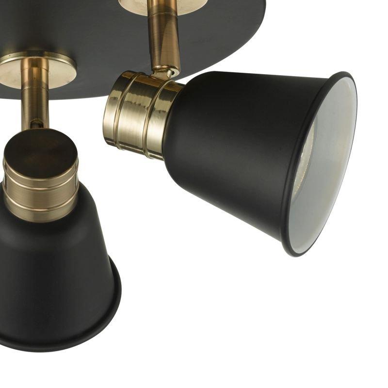 Dar-FRY7654 - Fry - Modern Black and Rose Gold Round Plate 3 Spotlights