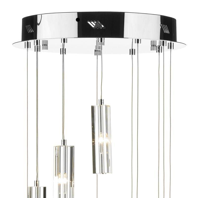 Dar-GAL1250-LED - Galileo - Crystal Block with Chrome 12 Light Ceiling Lamp